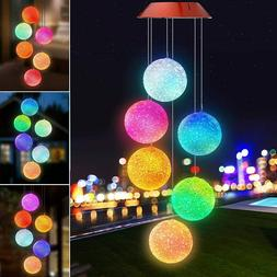 Color-Changing LED Solar Powered Wind Chime Lights Yard Gard