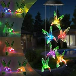Color Changing Solar Powered LED Hummingbird Wind Chimes Lig