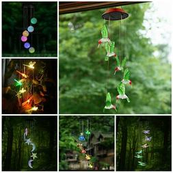 LED Color-Changing  Power Solar Wind Chimes Yard Home Garden