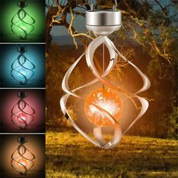 Solar Powered Wind Chimes LED Spiral Spinner Lamp Colour Cha