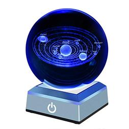 Solar System Crystal Ball 80mm with 3D Laser Engraved Sun Sy