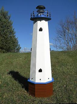 """Well pump cover wooden lighthouse with solar light - 48"""" tal"""